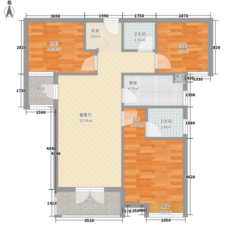 阳逻金色港湾1.22㎡1号楼A2户型3室2厅2卫1厨