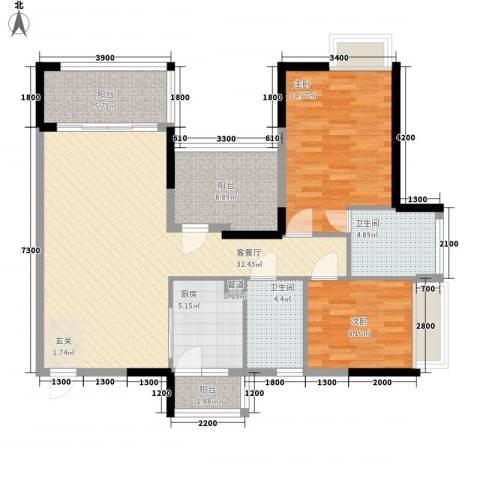 名流印象三期幸福季2室1厅2卫1厨95.57㎡户型图