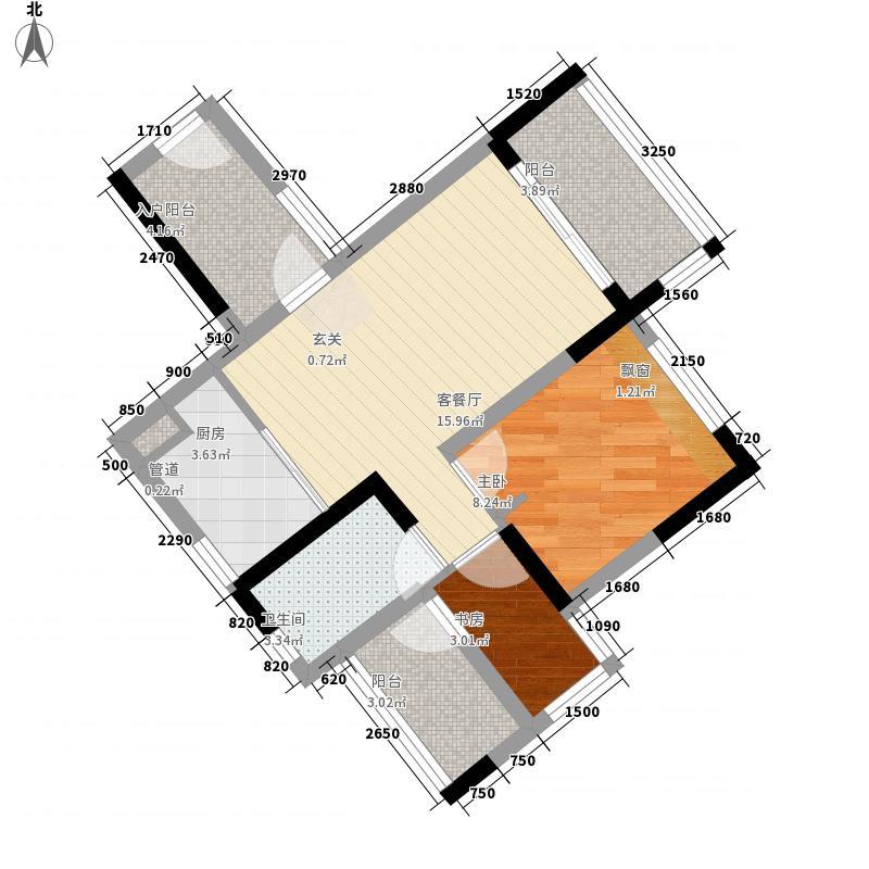 金域蓝湾68.38㎡B12栋06户型2室2厅1卫1厨