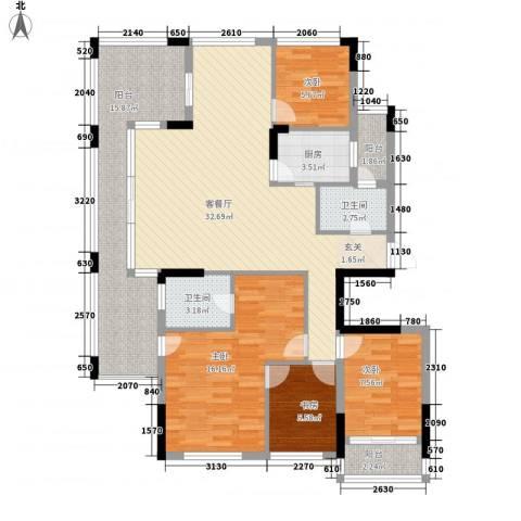 美丽之苑4室1厅2卫1厨140.00㎡户型图