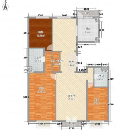 北京尊府3室1厅2卫1厨180.00㎡户型图