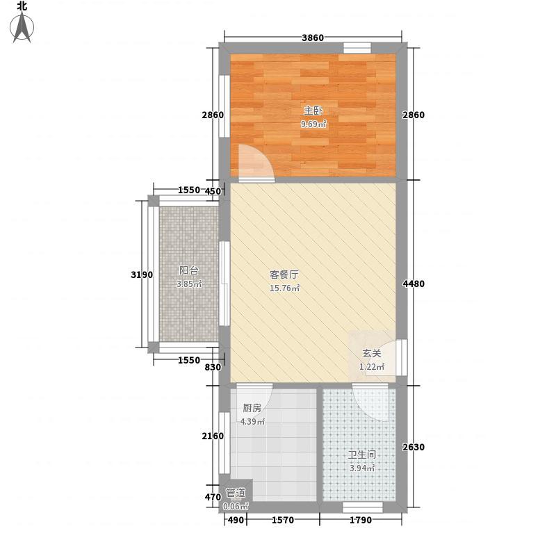 金域蓝湾54.21㎡F栋15/16单元户型1室1厅1卫1厨