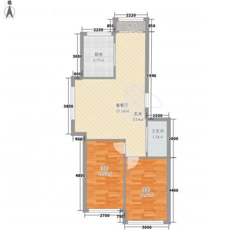 海景园2室1厅1卫1厨85.00㎡户型图