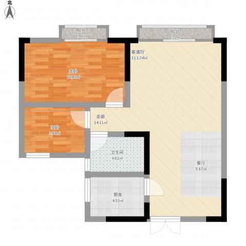 世纪嘉苑2室1厅1卫1厨89.00㎡户型图