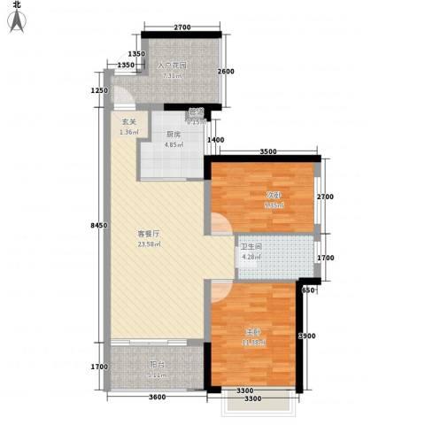 万科金域蓝湾2室1厅1卫1厨85.00㎡户型图