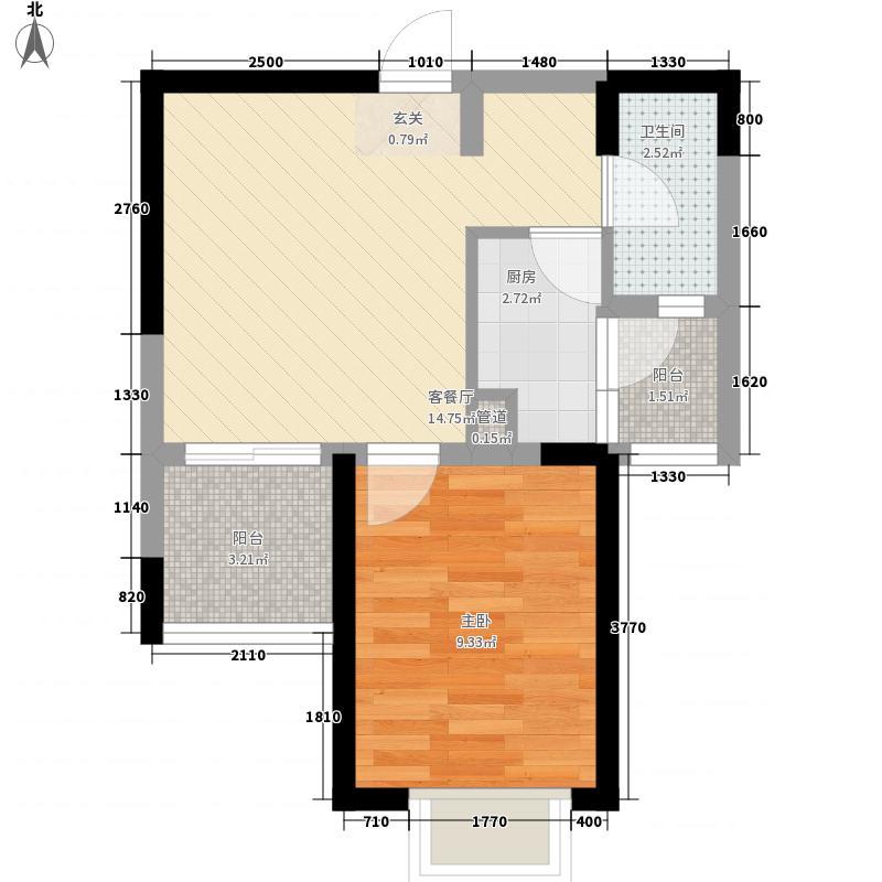 西锦国际二期51.00㎡户型1室1厅1卫1厨