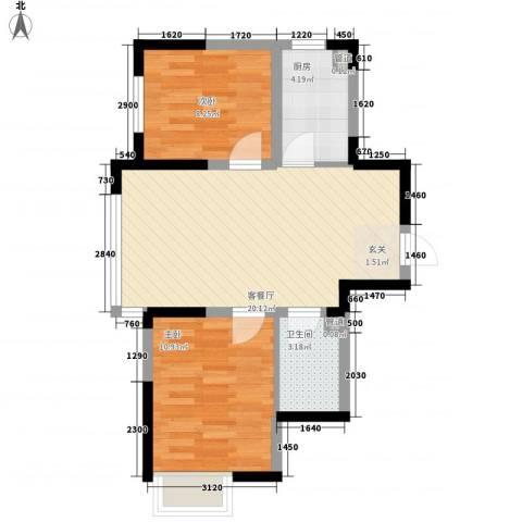 融城7英里2室1厅1卫1厨70.00㎡户型图