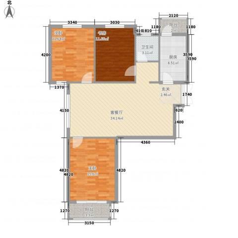 远洋风景3室1厅1卫1厨125.00㎡户型图