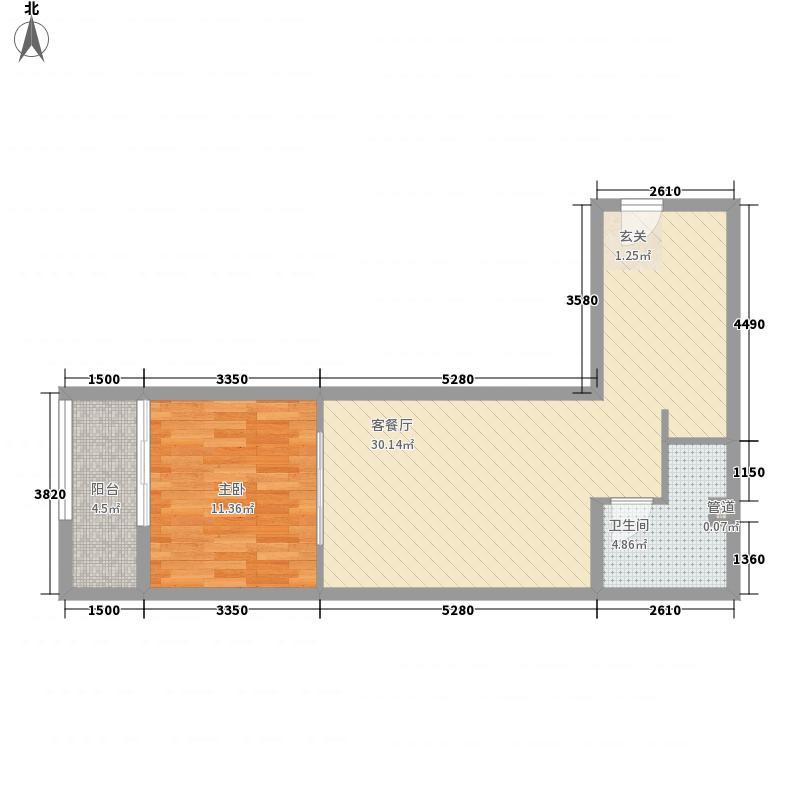 紫金花园73.00㎡公寓百变城堡户型1室1厅1卫1厨