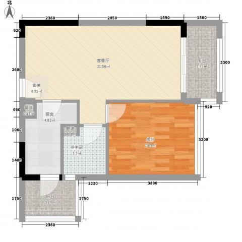 美汇半岛1室1厅1卫1厨69.00㎡户型图