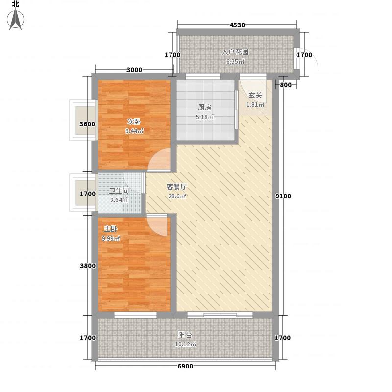 城南首座83.81㎡14#、15#、16#标准层F户型2室2厅1卫1厨