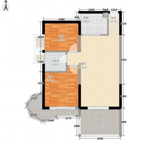 集富花园2室1厅1卫1厨101.00㎡户型图