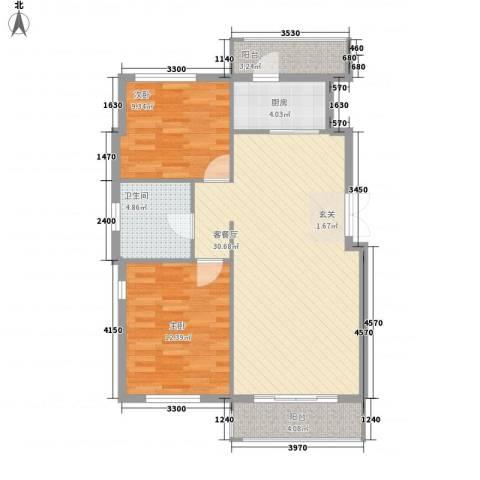 远洋风景2室1厅1卫1厨85.00㎡户型图