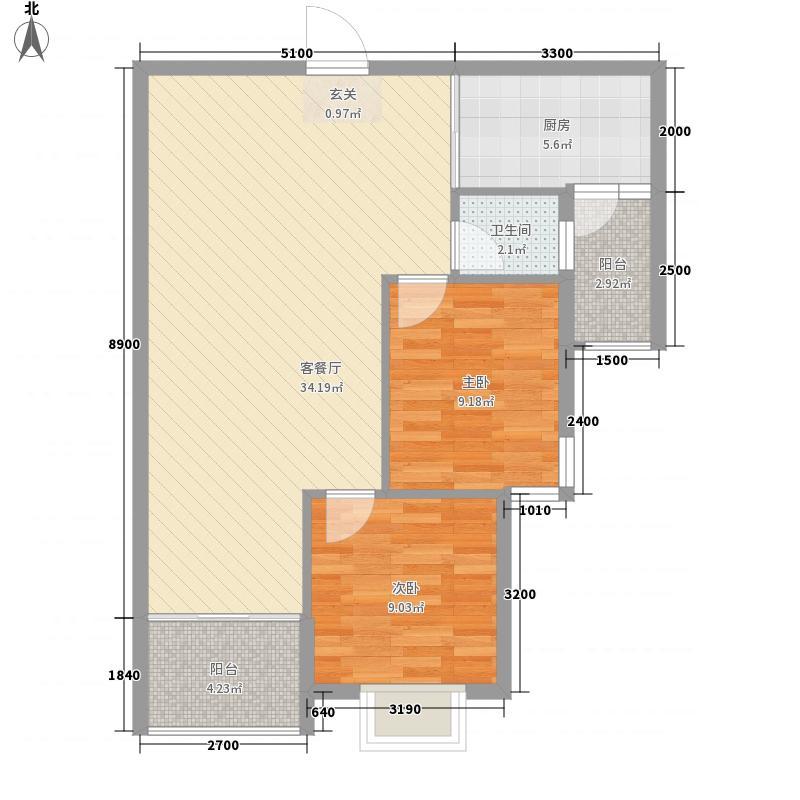 城南首座78.50㎡14#、15#、16#标准层E户型2室2厅1卫1厨