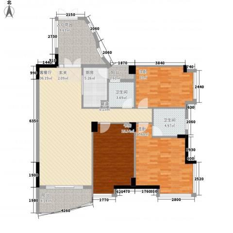 星河传说聚星岛A区3室1厅2卫1厨172.00㎡户型图