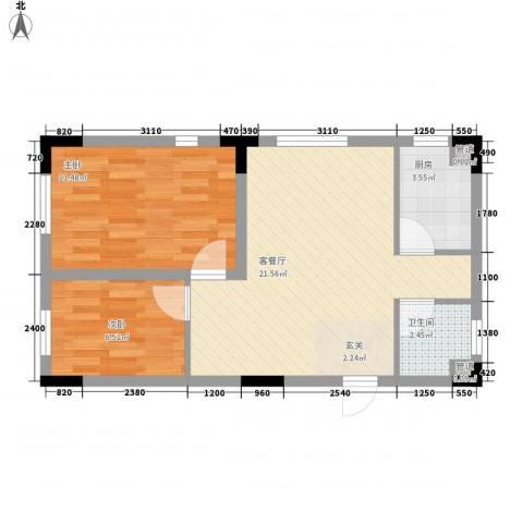 安达天下2室1厅1卫1厨68.00㎡户型图