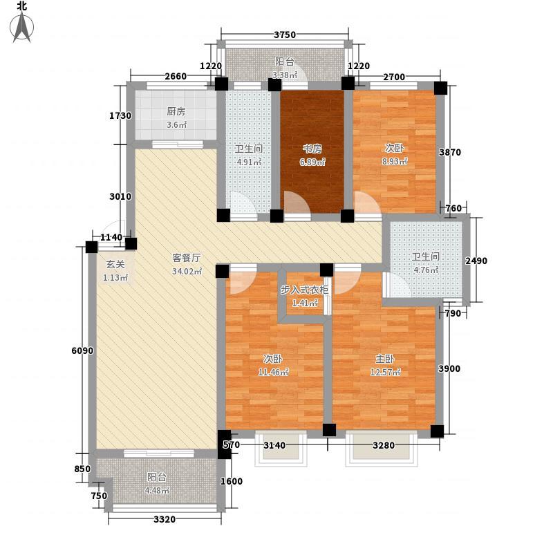 鼓楼开元142.44㎡小区B户型4室2厅2卫1厨