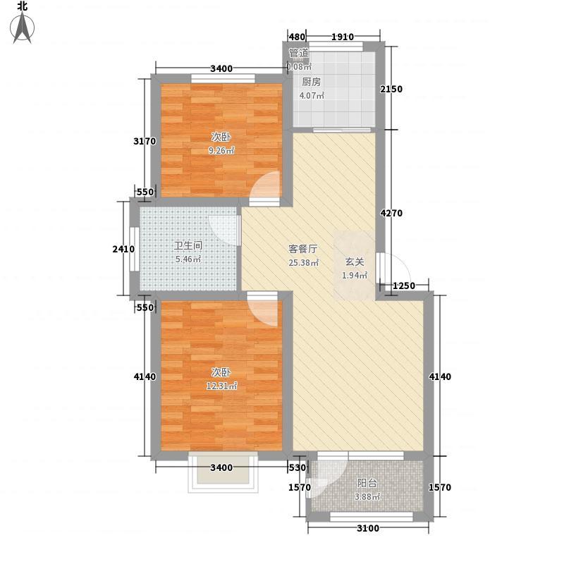 瑞源香汐海87.00㎡1#-14#楼标准层之D户型2室2厅1卫1厨