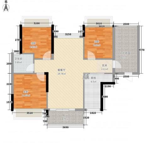 御景华城可园3室1厅1卫1厨119.00㎡户型图