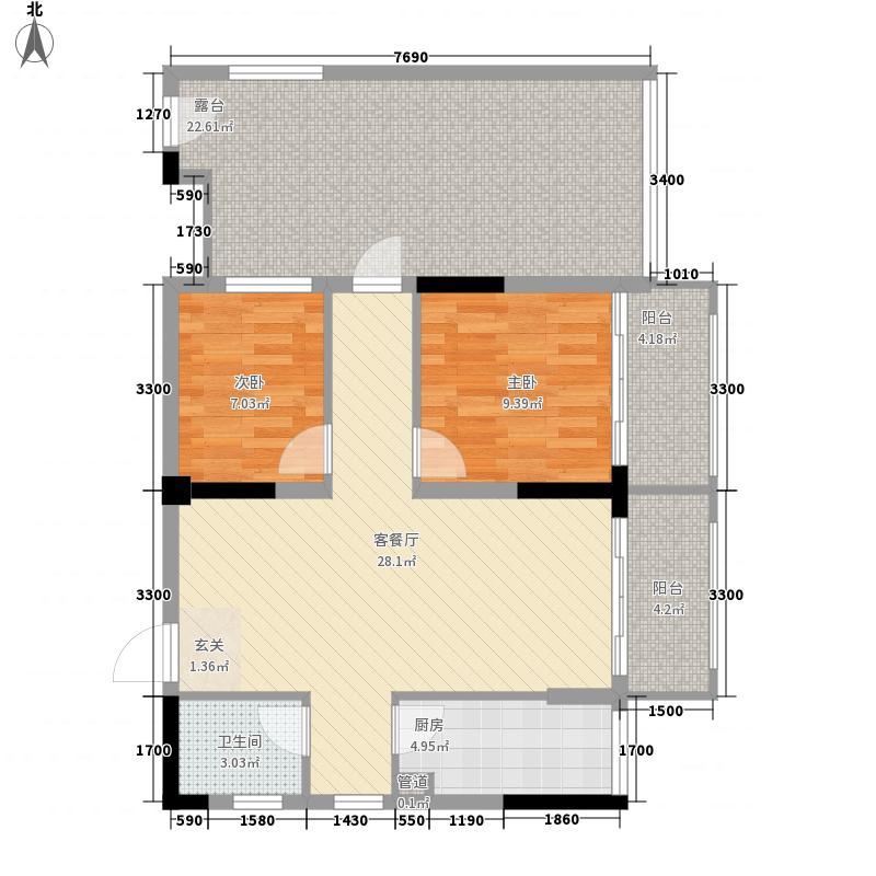 汇乔金色名都2室1厅1卫1厨83.69㎡户型图