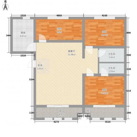 盛世弘德3室1厅2卫1厨123.00㎡户型图