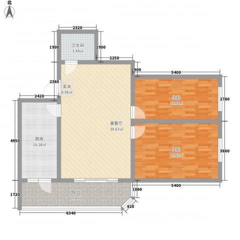 金博花园2室1厅1卫1厨120.00㎡户型图