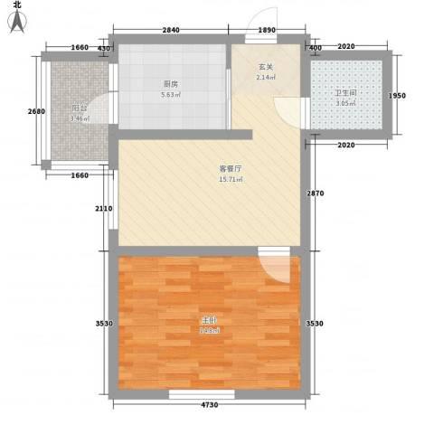 金博花园1室1厅1卫1厨62.00㎡户型图