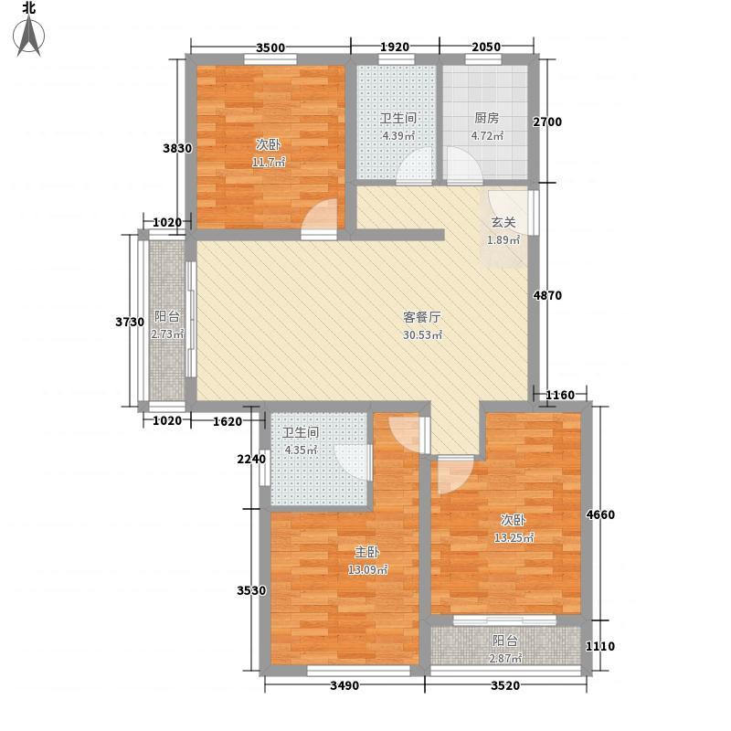 绿川新苑15.00㎡户型3室2厅1卫1厨