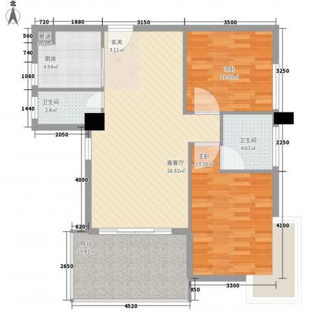 城市学院宿舍2室1厅2卫1厨81.87㎡户型图