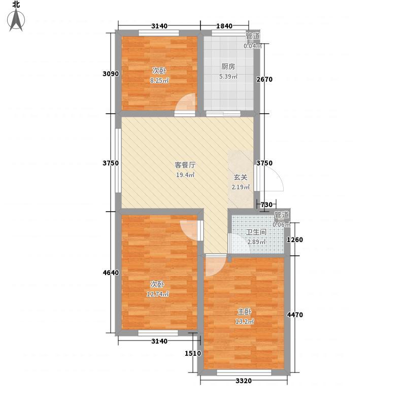 同和朝阳8.00㎡10#、21#标准层C户型3室2厅1卫1厨