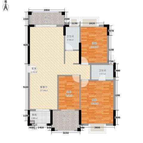 山水芳邻3室1厅2卫1厨123.00㎡户型图