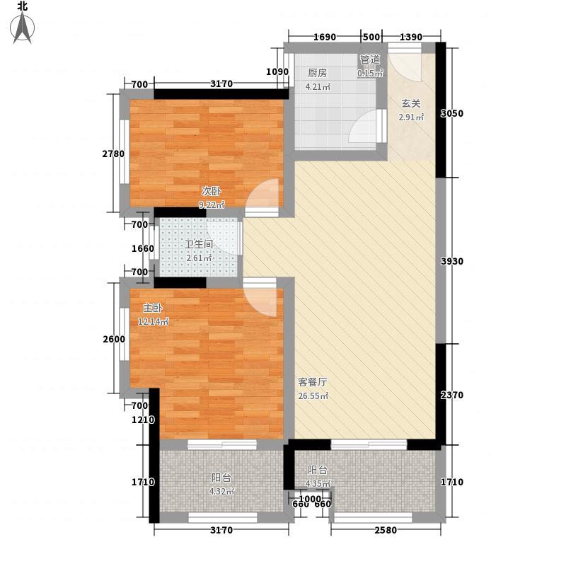 宝格丽小镇2.80㎡2#2-3户型2室2厅1卫1厨