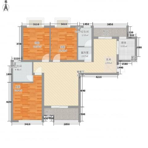 柳西新村3室2厅2卫1厨87.17㎡户型图