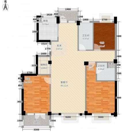 现代家园3室1厅2卫1厨147.00㎡户型图