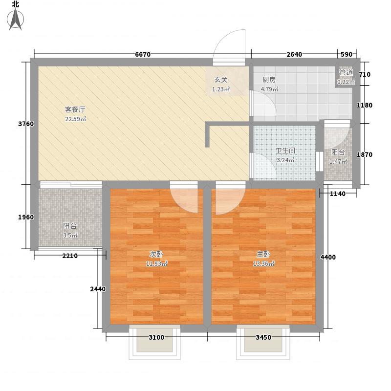 汉飞金沙国际88.00㎡户型2室