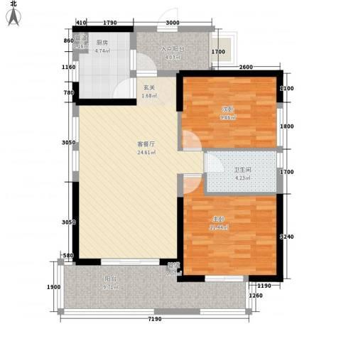 海投天湖城2室1厅1卫1厨82.00㎡户型图