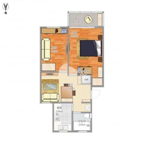 鹏海小区2室1厅1卫1厨62.00㎡户型图