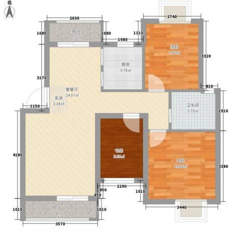 时代大厦3室1厅1卫1厨61.58㎡户型图