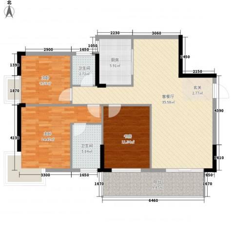 汇源・城果3室1厅2卫1厨114.00㎡户型图