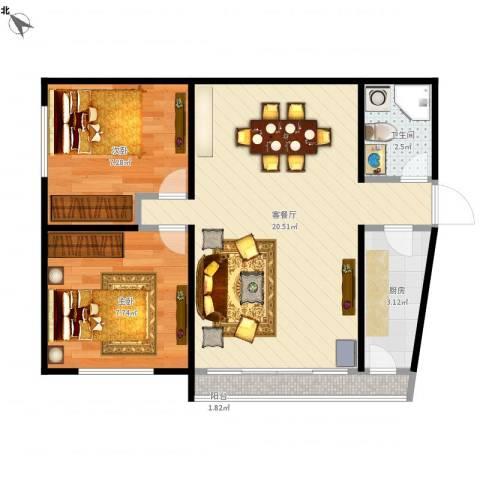 远大园二区1032室1厅1卫1厨59.00㎡户型图