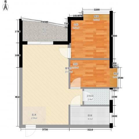 华景新城芳满庭园2室1厅1卫1厨73.00㎡户型图