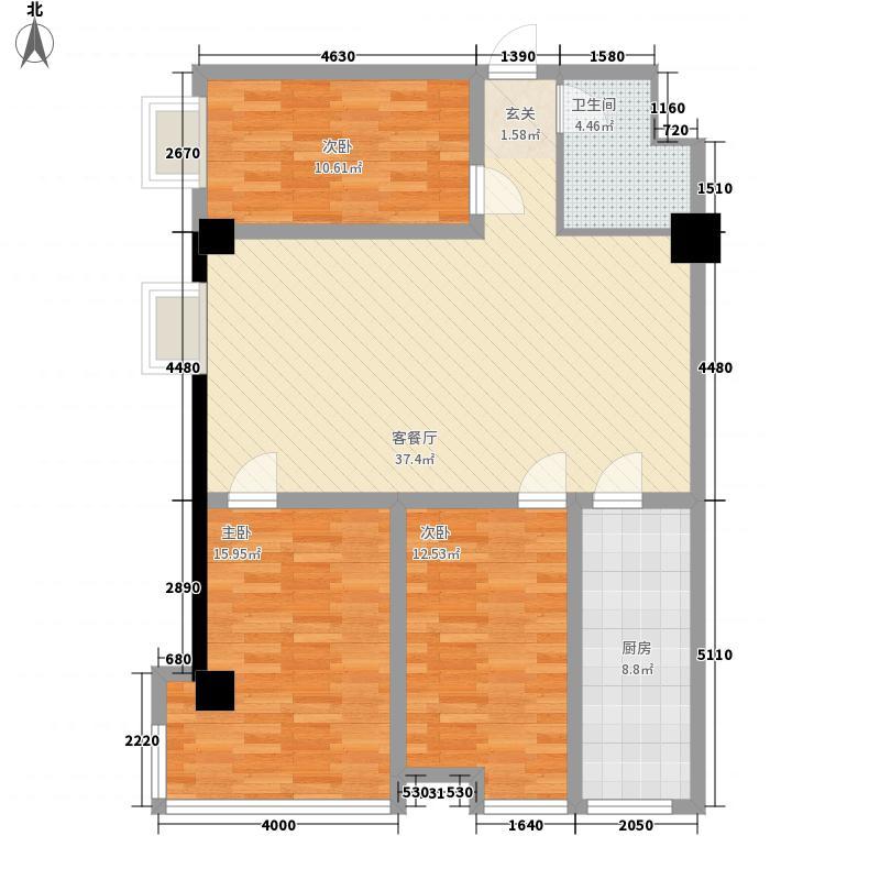 鑫悦首府128.00㎡总统套房户型3室2厅1卫1厨