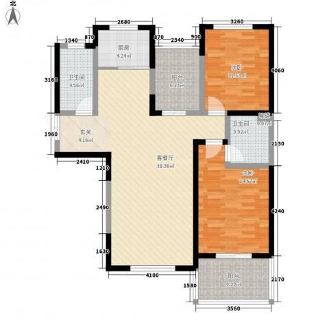 太白南路高速集团家属院2室1厅2卫1厨129.00㎡户型图