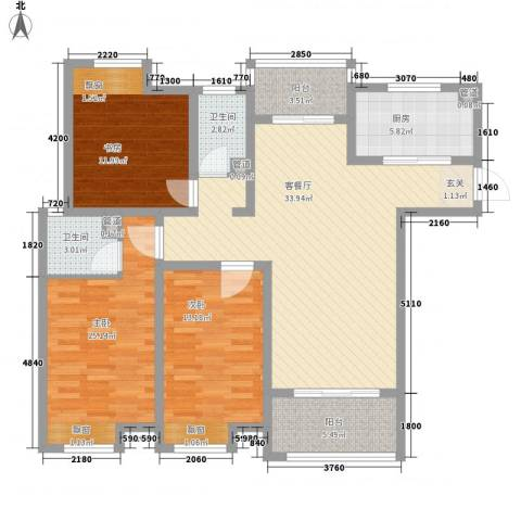海陵首府3室1厅2卫1厨138.00㎡户型图