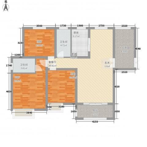 中建・城中壹号公馆3室1厅2卫1厨137.00㎡户型图