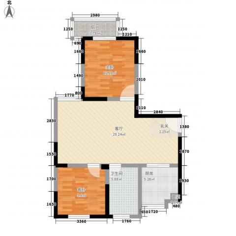 金色地带2室1厅1卫1厨93.00㎡户型图