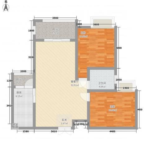 中建・城中壹号公馆2室1厅1卫1厨76.39㎡户型图