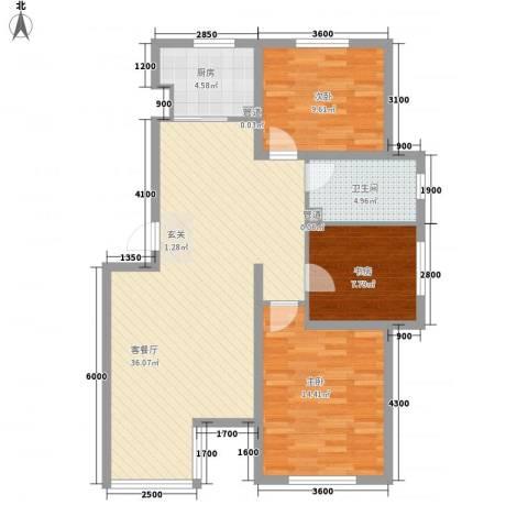 七里香堤3室1厅1卫1厨109.00㎡户型图
