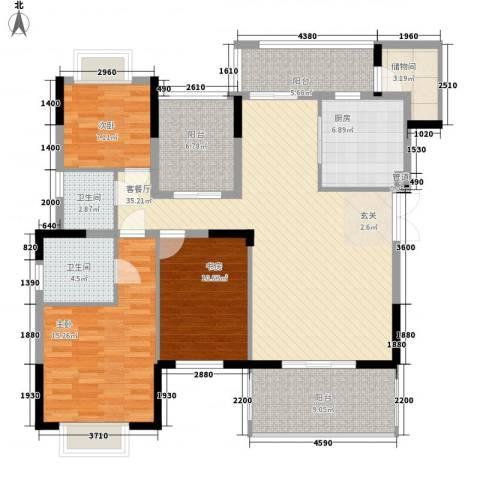 熙园山院3室1厅2卫1厨122.00㎡户型图