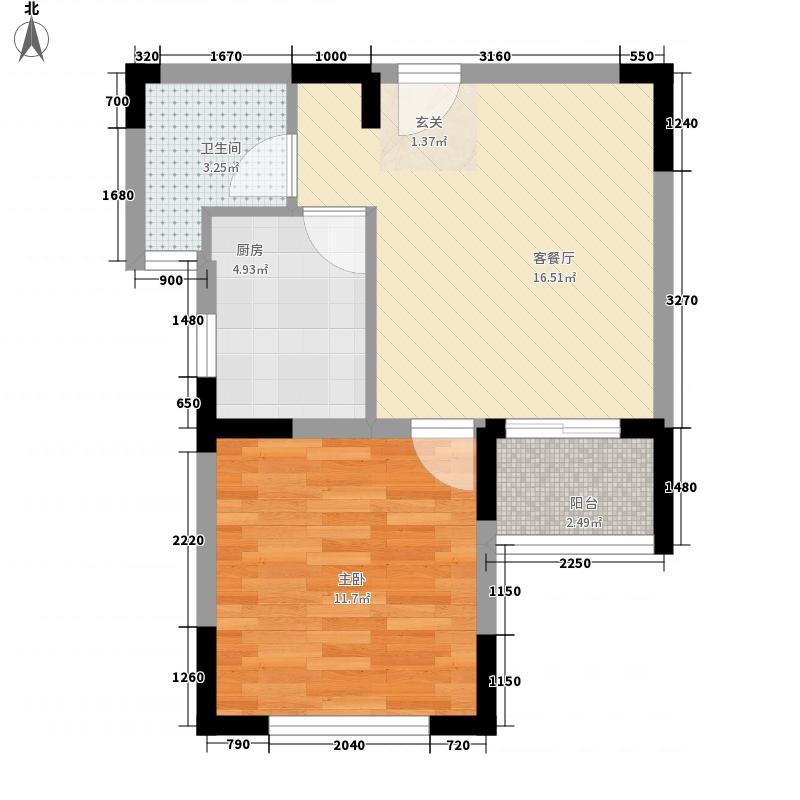 伟东乐客城55.88㎡B3户型1室2厅1卫1厨
